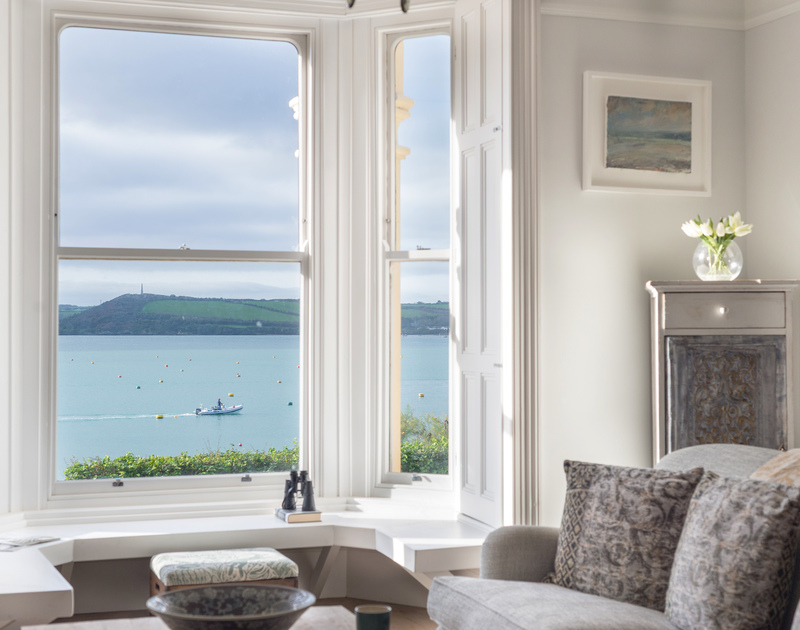 The window seat at 5, The Terrace, a restful spot where you can study the goings on, on the Camel Estuary in Rock.