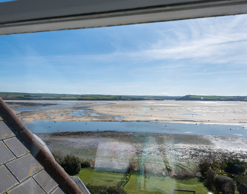 The expanse of the sand bar revealed at low tide in the middle of the Camel Estuary, seen from self catering, waterside, holiday house 5, The Terrace,