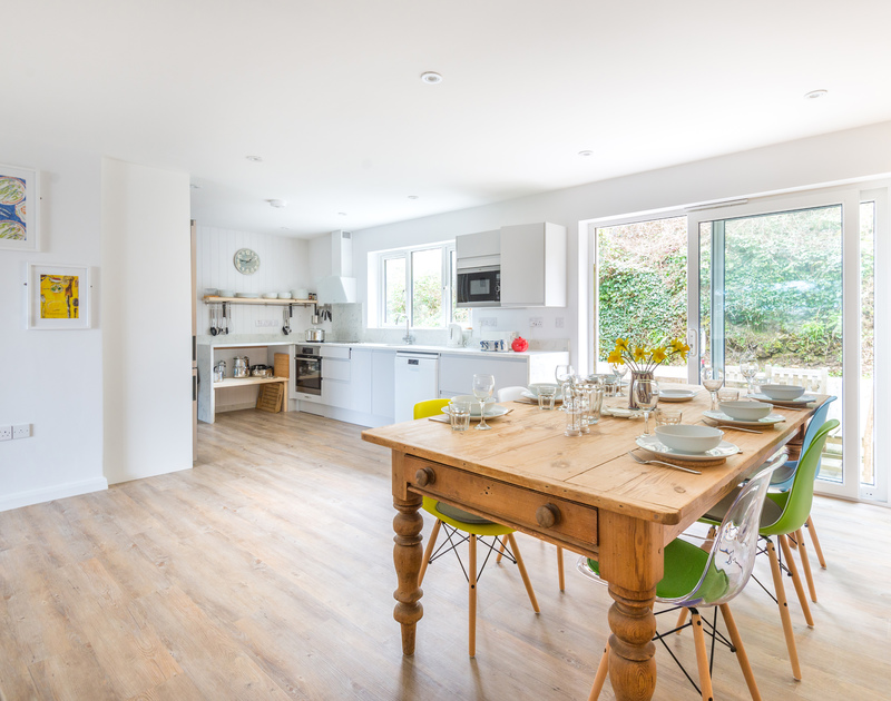 Light filled open plan living at self catering, holiday property Beaches in walking distance of Polzeath in North Cornwall.