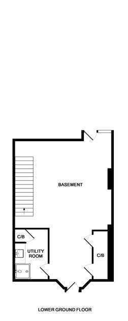 The lower ground floor plans showing the spacious basement and useful utility room at 5, The Terrace, a recently renovated, holiday house in a prime position overlooking the Camel Estuary in Rock, North Cornwall.