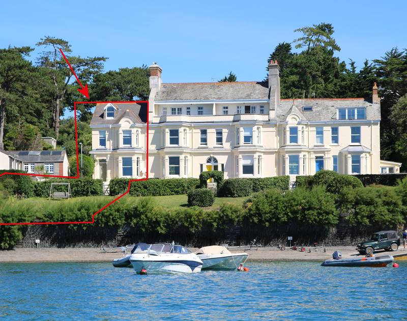 The external view of elegant, Victorian, holiday house 5, The Terrace and its waterside location on the Camel Estuary in Rock.