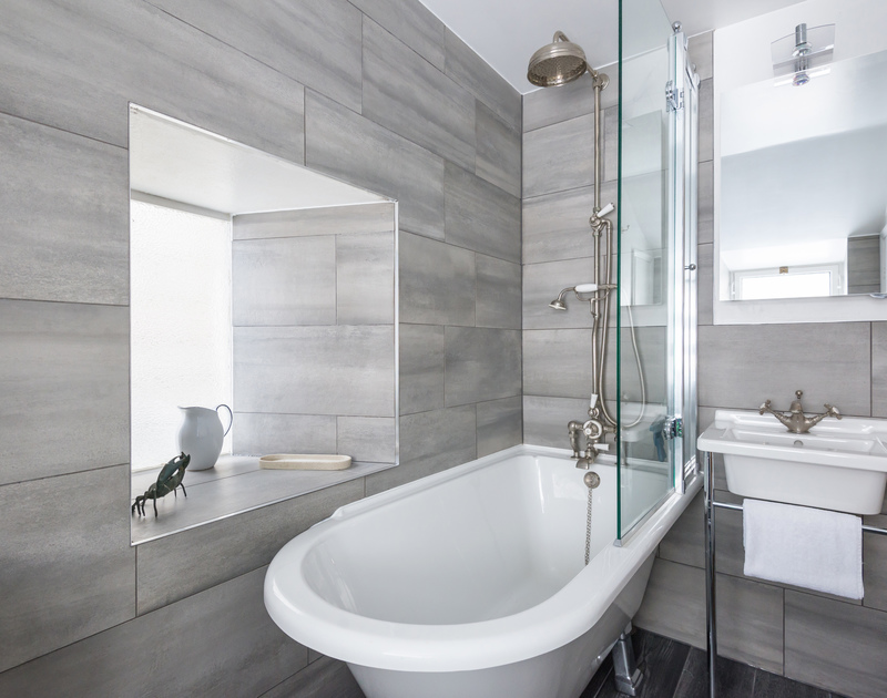 The bathroom is contemporary and stylish in Kicker Cottage a self catering, beautifully presented traditional fisherman's cottage in Port Isaac in North Cornwall.