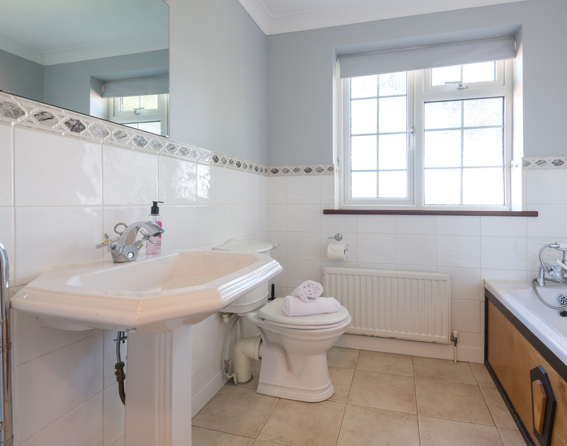 One of five bathrooms in The Garden House, a self catering holiday house to rent in Rock, North Cornwall.