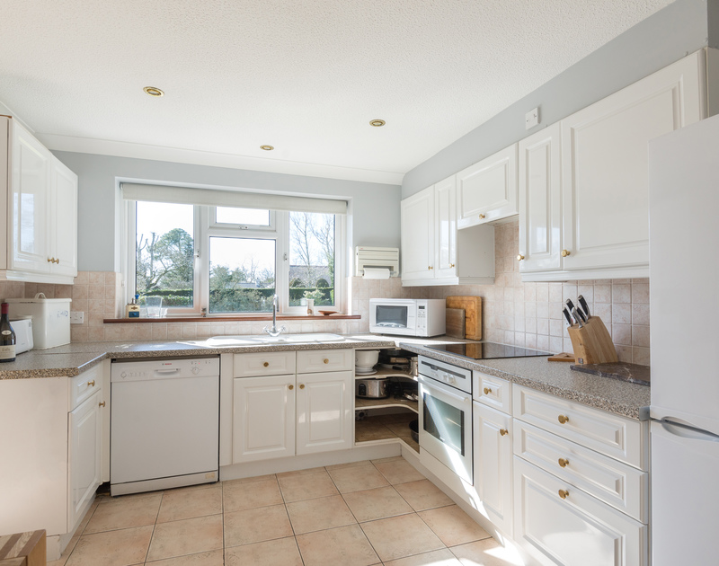 The kitchen at self catering holiday house to rent The Garden House in Rock, Cornwall.