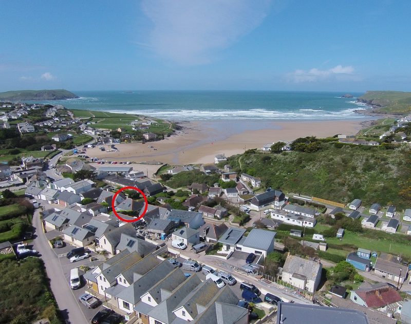 An aerial shot of the position of Balderstone  a self-catering holiday house in Polzeath, Cornwall, obviously just walking distance from the amazing surfing beach.