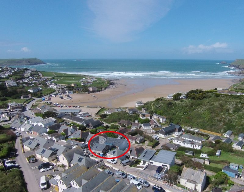 An aerial view ringed in red, showing the exact location of Slatewater in Polzeath, Cornwall.