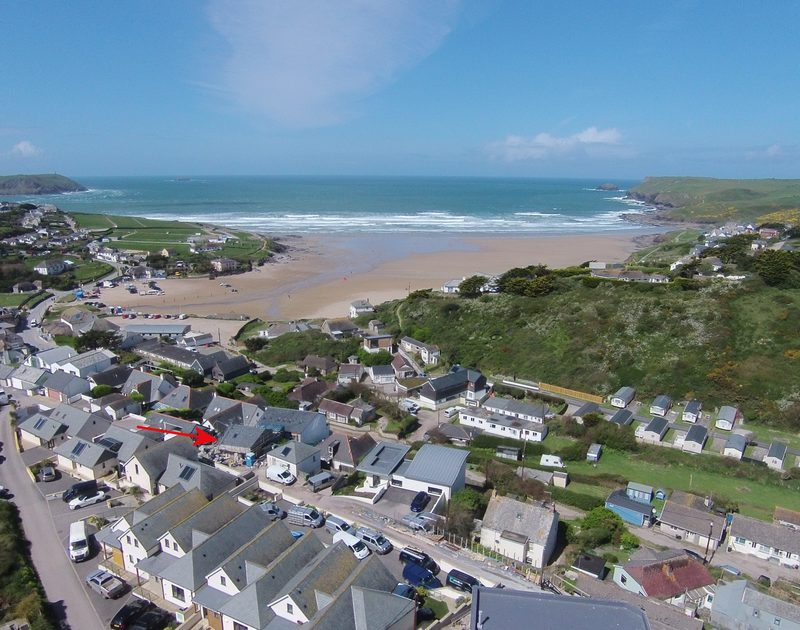 An aerial view showing the exact location of self catering, holiday house Backwater in Polzeath, Cornwall.
