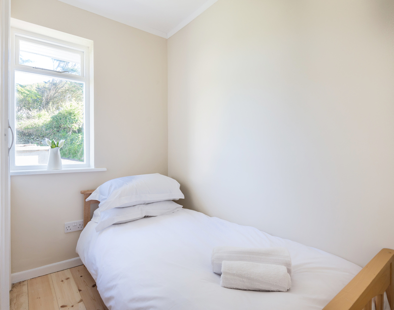 The single bedroom at self catering, holiday house Dolphins on the north Cornish coast.