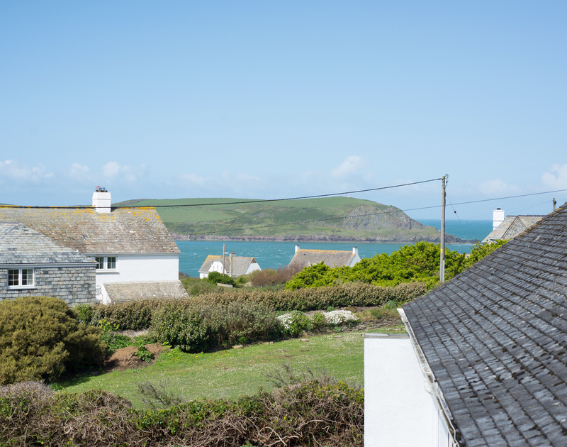 The view of the sea and Stepper Point from the balcony at self catering, holiday house Dolphins between Daymer Bay and Polzeath.