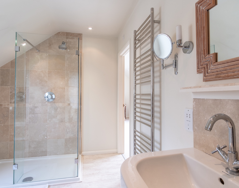 One of the bright, newly finished ensuite shower rooms at self catering holiday house Greystones in Daymer bay, north Cornwall.