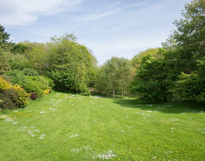 Great sized lawn for family games or tranquil sunbathing at self catering, holiday house to rent Sliggon Field in Cornwall.