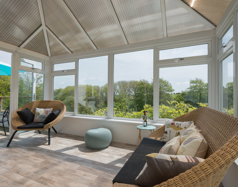 The sunny, peaceful conservatory with gorgeous rural views at Sliggon Field.