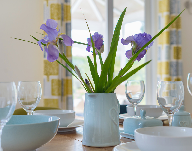 Beautiful Iris flowers on the dining table at Sliggon Field in Trebetherick.