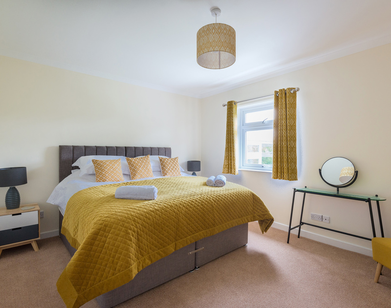 The master bedroom at Sliggon Field with the option of  twin beds or via zip and link a superking sized bed.