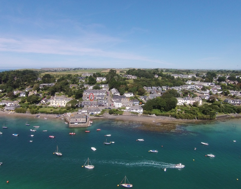 An aerial view of the boat moorings on the Camel Estuary and Slipway 10, a self catering holiday house to rent in Rock, North Cornwall.