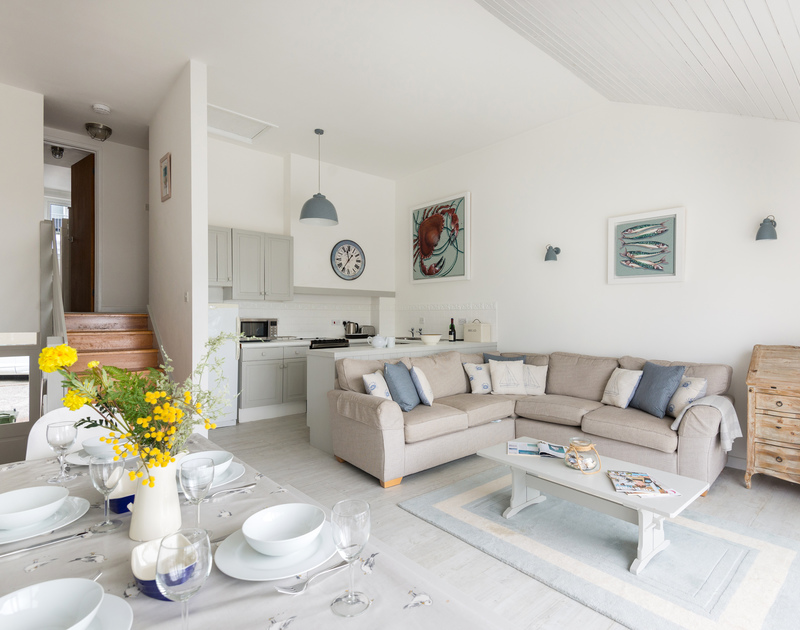 Relax in the seaside themed living room at Slipway 10, in Rock on the Camel Estuary.