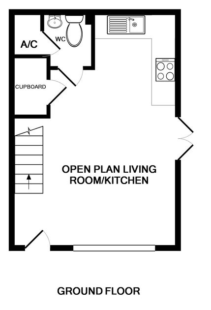 The floor plan for the open plan living areas on the ground floor at White Horses, self catering holiday accommodation in walking distance of the harbourside in Port Isaac.