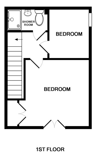 The first floor plan for White Horses showing two bedrooms and a shower room in this self catering holiday retreat in Port Isaac, North Cornwall.