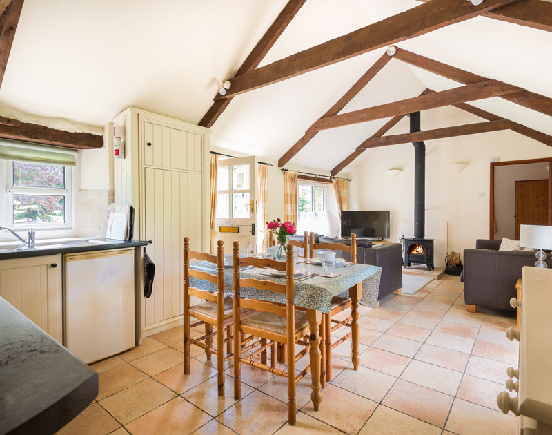 Open plan, sociable space at self catering, holiday home, Millers Cottage to rent near St Minver in North Cornwall.