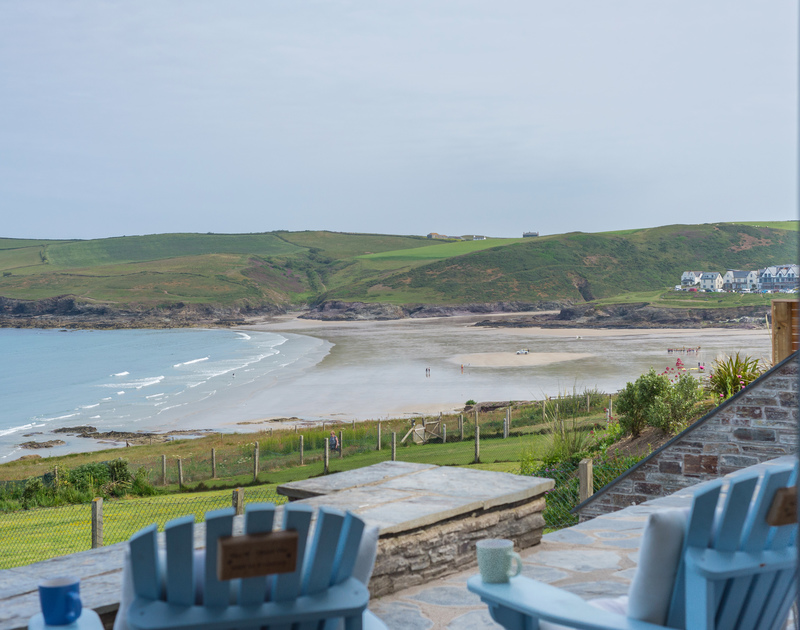 Enjoy morning coffee and check the surf from the comfort of the terrace at  Treviles in  Polzeath Cornwall.
