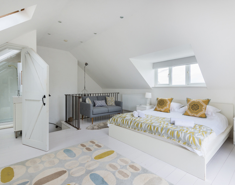 The spacious master super king bedroom showing the ensuite shower room at Tradewinds, Polzeath.