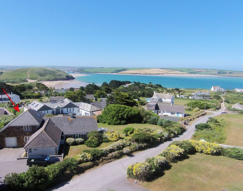 Aerial shot of Higher Crawallis with its large grounds and parking a self-catering holiday house in walking distance to Daymer Bay, the Camel Estuary and Brea Hill.