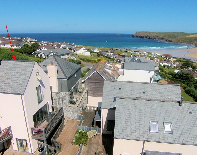 An external view of Carnweather, a self catering holiday house to rent with sea views  in Polzeath on the North Cornish Coast.