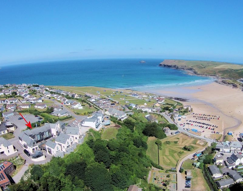 An aerial view illustrating the proximity of Epphaven, a luxury holiday house in Polzeath, to the beach and North cornish coastline.