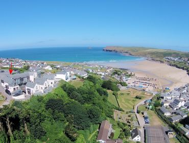 An aerial view of The Beach Hut self catering holiday home pet friendly in Polzeath, North Cornwall.