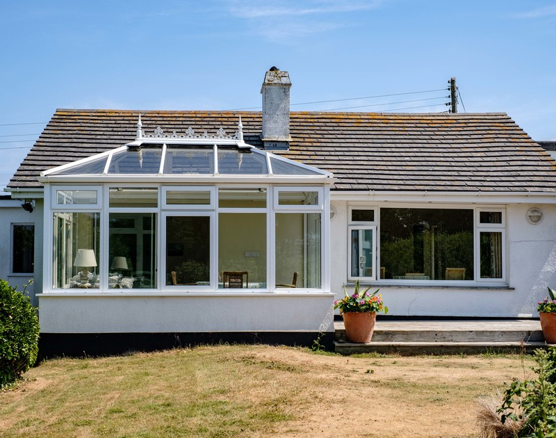 External view from the garden of holiday property Quarry Cottage in Polzeath, Cornwall.
