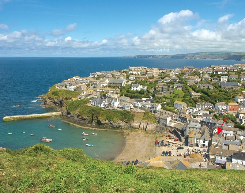 View of Port Isaac village and harbour from the top of Lobber Point