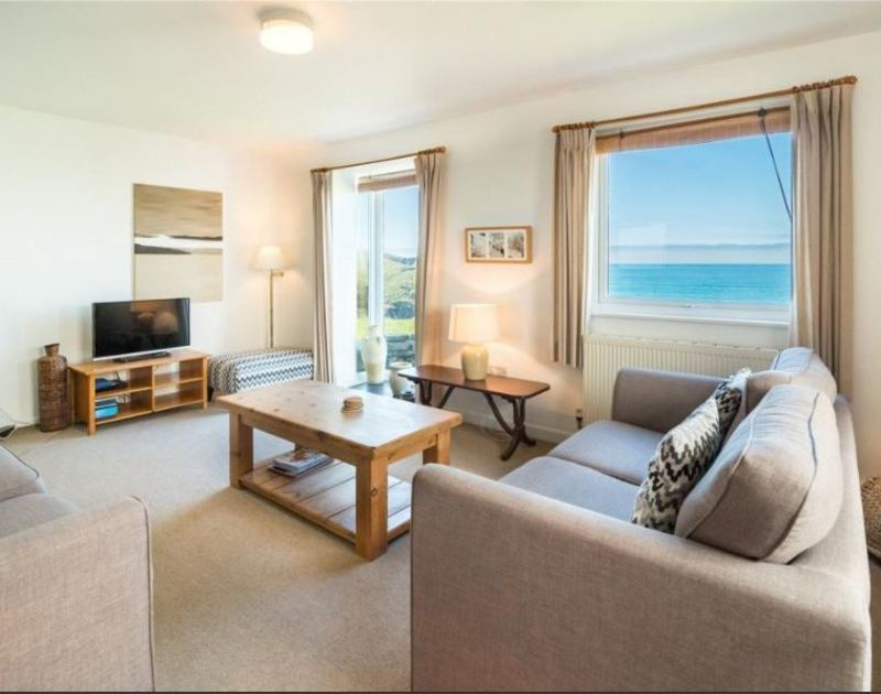 Lovely sea views from the generously furnished sitting room of Overcliff 3