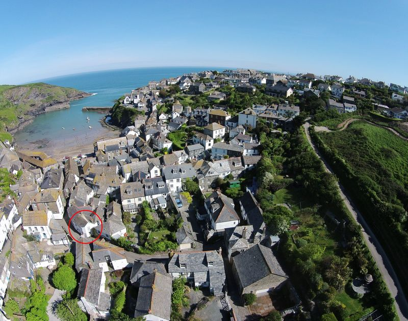 An aerial view of The Bakehouse, a self catering, cosy holiday cottage in the heart of Port Isaac in North Cornwall.