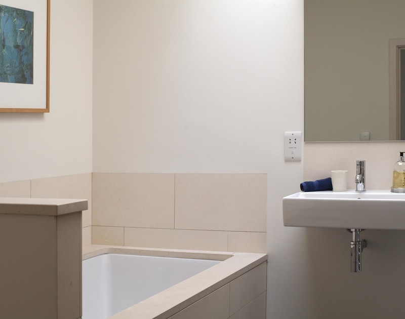 A modern bathroom at self catering seaside, family, holiday home Church Lane House near the beach at Daymer Bay.