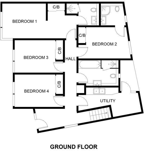 The ground floor plan for Slatewater, a reverse style newly developed holiday property in Polzeath.