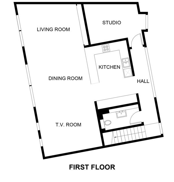 The first floor plan for reverse style living, newly developed Slatewater, a luxury holiday house to rent in Polzeath, Cornwall.