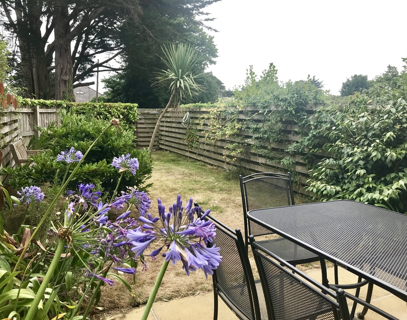 The enclosed garden with mature plants and pretty blue Agapanthus in the Summertime at self catering, holiday house Lowenna 9, in Rock.