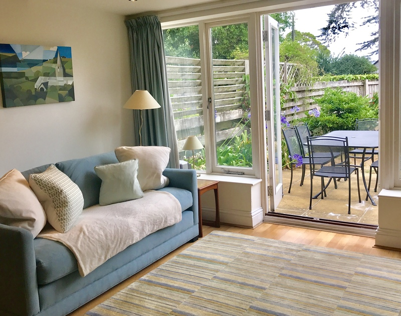 The sitting room at Lowenna Manor 9, a self catering holiday house to rent in Rock, Cornwall.