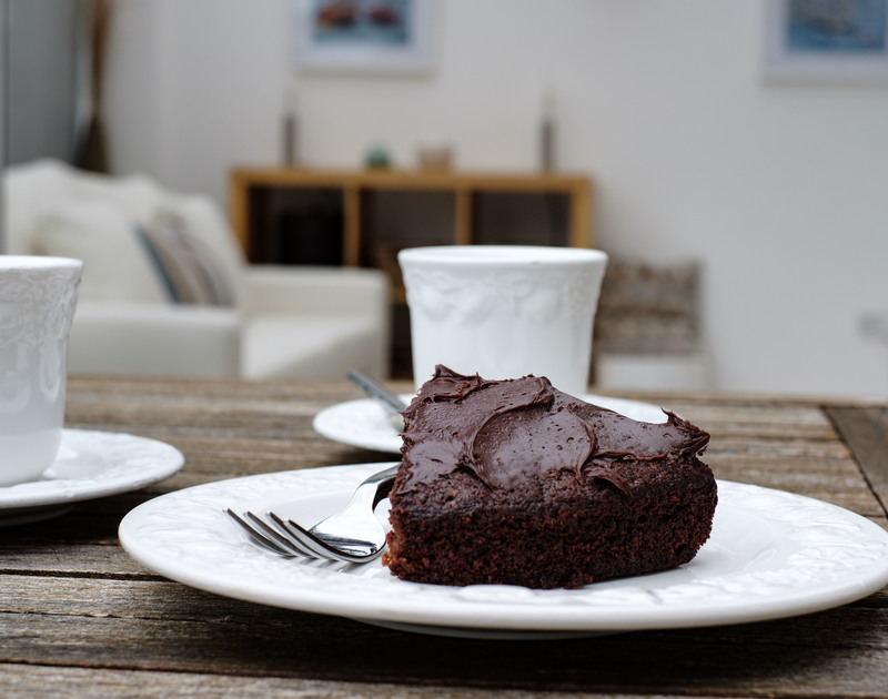 Enjoy afternoon tea with cake at self catering holiday apartment St Martins, a cosy getaway ideal for a small family or a couples romantic break in Rock, North Cornwall.