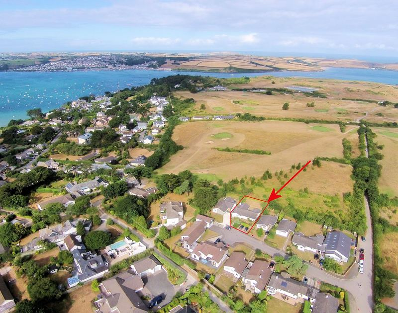 An Aerial shot of the location of Trewin, a self catering holiday property to rent in Rock, Cornwall, which backs onto the St Enodoc golf course and is easy walking distance to the shops and restaurants.