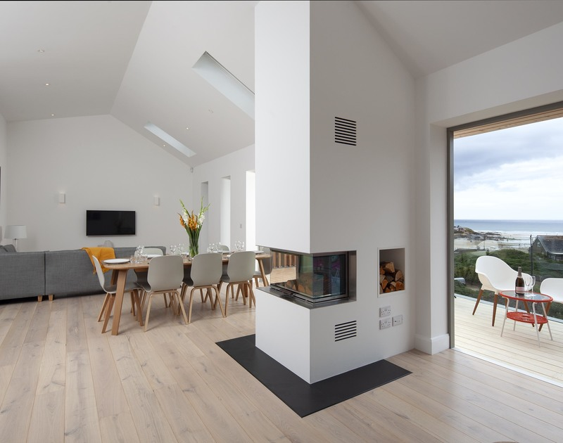 Fabulous contemporary wood burning stove on the open plan first floor at Slatewater in Polzeath.