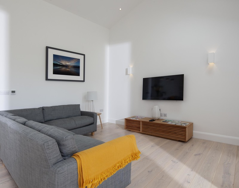 Quiet TV area at luxurious Slatewater, a holiday house in Polzeath, Cornwall.