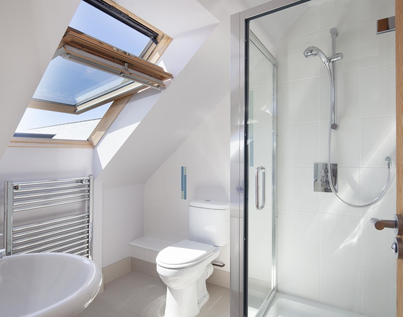 Velux window in one of two ensuite shower rooms at Saltrock, a holiday rental in Rock.