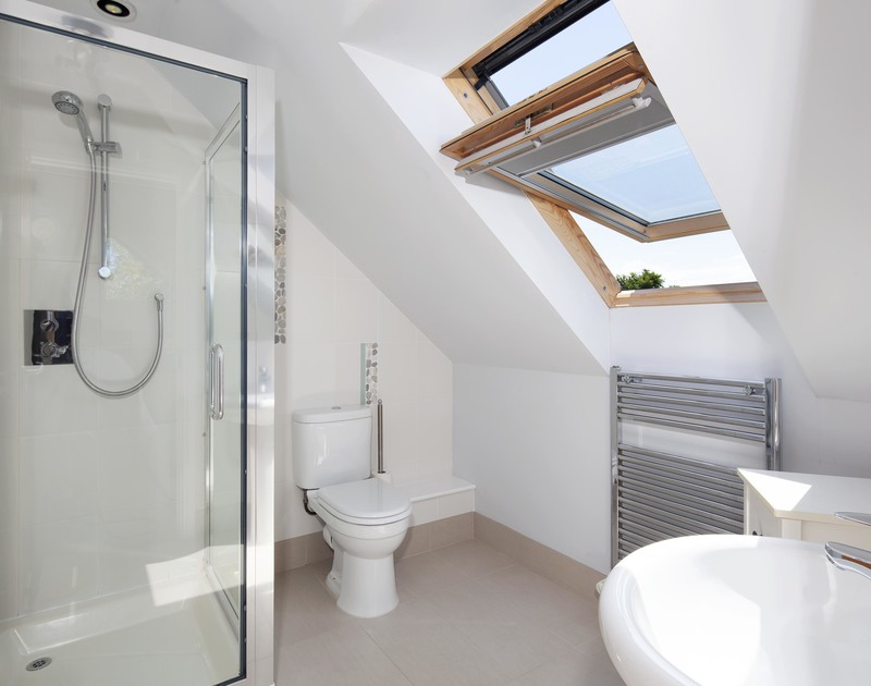 One of two ensuite shower rooms on the first floor at self catering Saltrock in Rock, Cornwall.