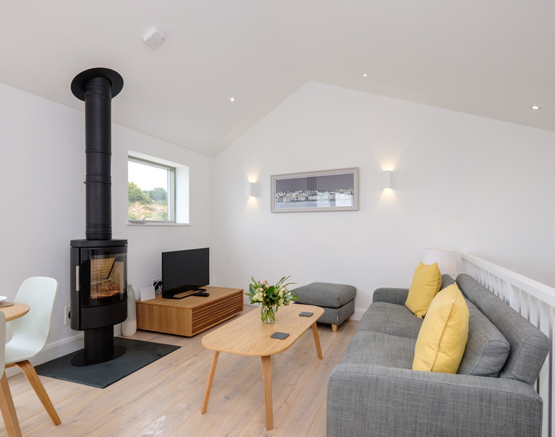 Stylish and contemporary living space in luxurious, self catering, holiday house, Backwater in Polzeath, Cornwall.