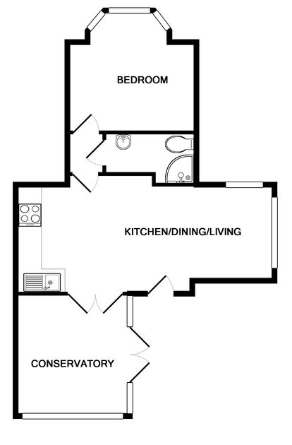 The floor plan for St Martins a self catering holiday apartment in Rock, North Cornwall.