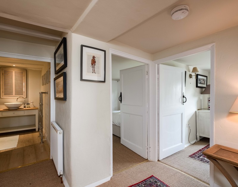 The landing at Old Farm, a self catering family holiday house that has been renovated with attention to detail in its exquisite furnishings and original features.