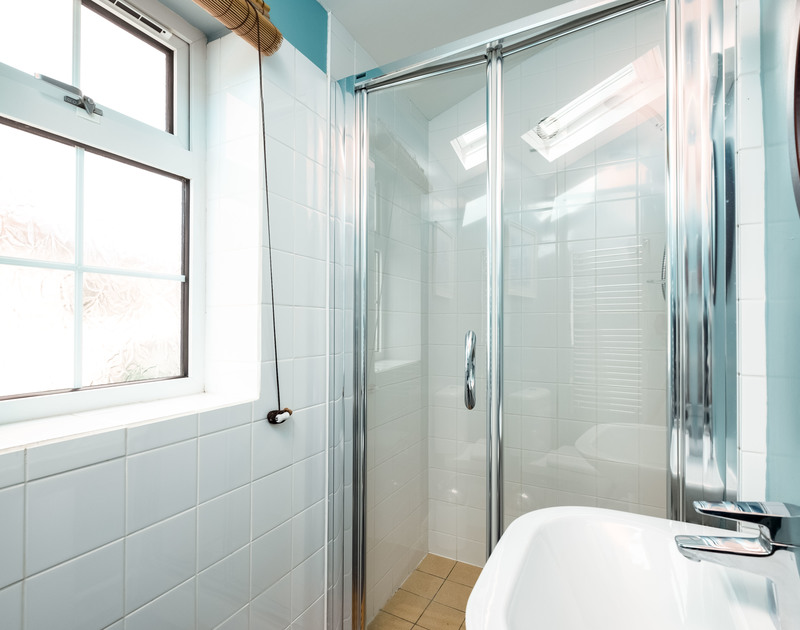A shower room at self catering, holiday rental Whiteaway, near Rock in Cornwall.