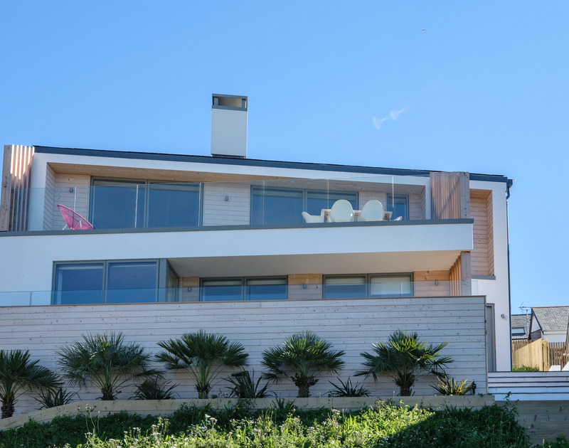 The striking exterior of Slatewater, a luxurious holiday house to rent in Polzeath, North Cornwall.