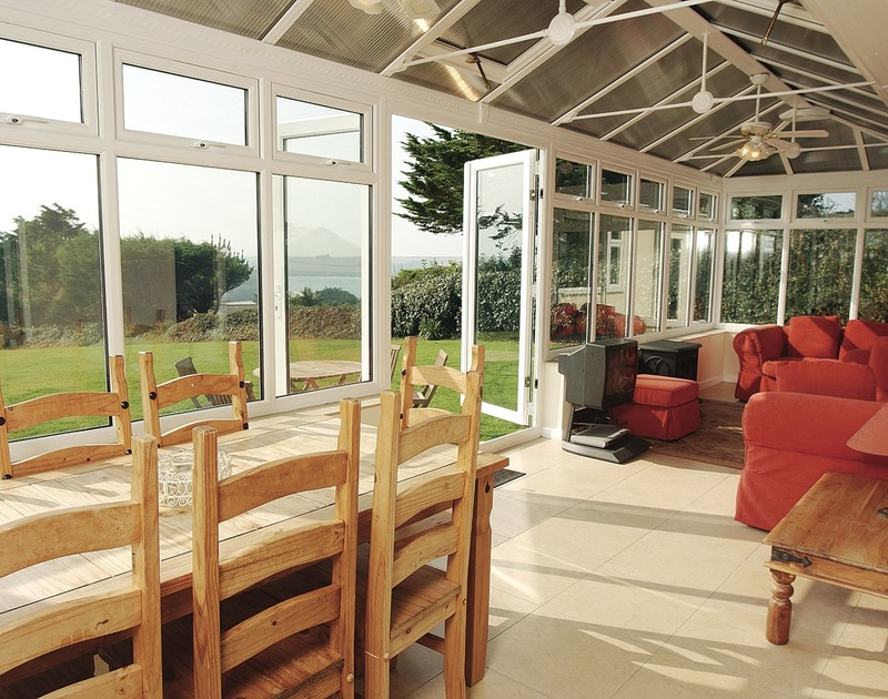 The views across the Camel Estuary from the conservatory at Sandlings, a self catering holiday house above Daymer Bay in North Cornwall.